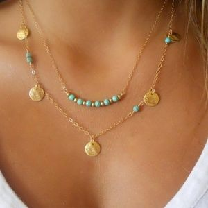 Boho Turquoise Bead Coin Layered Choker Necklace